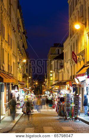 Montmartre By Night Street Near Sacre Coeur, Paris