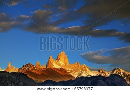 Sunrise over the magnificent peak of Fitzroy in Patagonia.