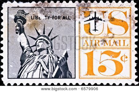 Postage Stamp Shows Us Statue Of Liberty, Circa 1970's