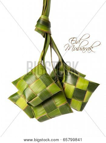 Muslim Ketupat (Rice Dumpling) with Clipping Path. Translation: Ramadan Kareem - May Generosity Bless You During The Holy Month.