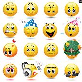 picture of sleepy  - Vector set of smiley icons with different face expression - JPG