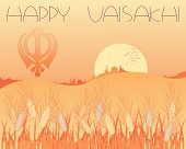 pic of sikh  - an illustration of a vaisakhi greeting card with harvest scene and sikh symbol at sunset - JPG