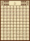 picture of allah  - Illustration of 99 names of Allah in Arabic - JPG