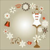 picture of underthings  - Bodyform With  Flowers And  accessories surrounding copyspace to the center - JPG