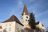 image of fortified wall  - Medieval fortified church surrounded by walls - JPG