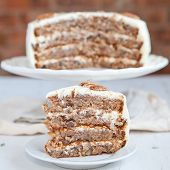 image of pecan  - A Piece Of Hummingbird Cake With Pecans And Cream Cheese Frosting - JPG