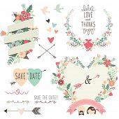 stock photo of single flower  - Vintage Flowers Wedding invitation design elements - JPG