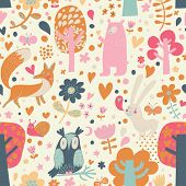 pic of wild-rabbit  - Cute floral seamless pattern with forest animals - JPG