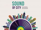 pic of rap  - Music and city landscape infographic and background - JPG