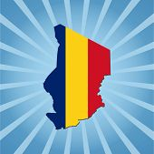 stock photo of chad  - Chad map flag on blue sunburst illustration - JPG