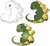 foto of godzilla  - the little cub of the Godzilla kotoy is drawn in three options of color scale - JPG