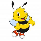 pic of bee cartoon  - Vector illustration of a cartoon bee with red shoes - JPG