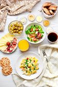 stock photo of scrambled eggs  - Fresh breakfast table - JPG