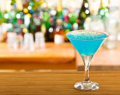 image of curacao  - cold blue curacao cocktail in a bar - JPG