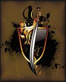 stock photo of saber  - black shield with saber and floral elements - JPG