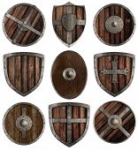 stock photo of berserk  - medieval wooden shields collection isolated on white - JPG