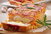 foto of meatloaf  - Homemade ground meatloaf with ketchup and rosemary - JPG