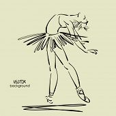 picture of tutu  - art sketched beautiful young ballerina standing - JPG
