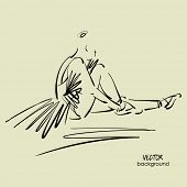 image of ballerina  - art sketch of sitting on floor of studio and tying up pointe shoes beautiful young ballerina in tutu - JPG