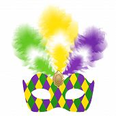 picture of venetian carnival  - Vector illustration of Venetian carnival mask with colorful feathers - JPG