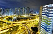 stock photo of tong  - Highway overpass in hongkong public downtown Kwun Tong district - JPG
