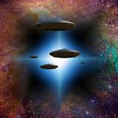 stock photo of starship  - Star ships enter through star gate - JPG