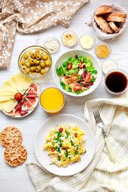 foto of continental food  - Fresh breakfast table - JPG