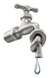 stock photo of water shortage  - 3D concept with the faucet and the knot - JPG