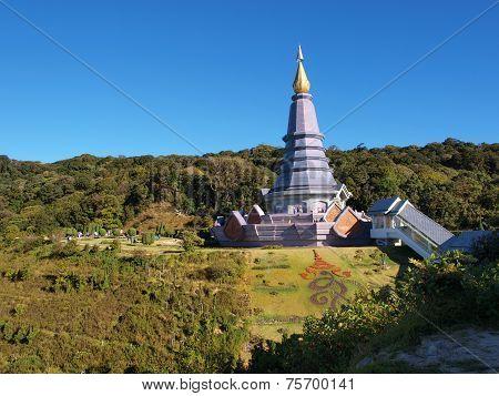 Phra Maha Dhatu Nabha Metaneedol,Pagoda at Doi Inthanon National Park.