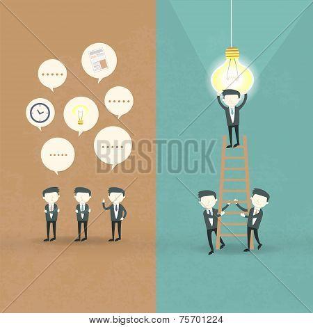 Flat Design Of Businessmen Cooperation Concept