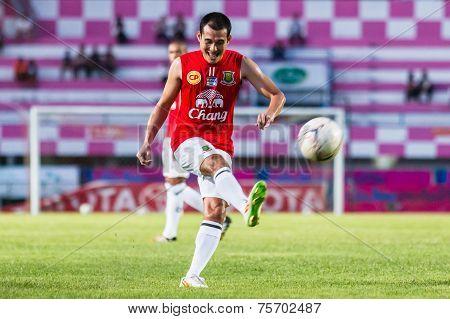 Sisaket Thailand-october 29: Nirut Surasiang Of Army Utd. Shooting Ball During A Training Ahead Thai