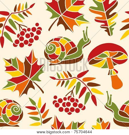 Autumn mosaic seamless pattern