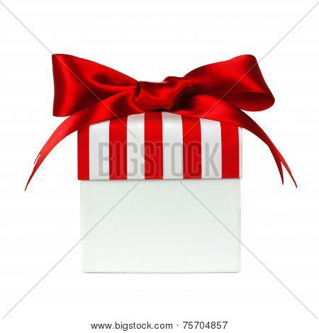 White gift box with red striped lid isolated