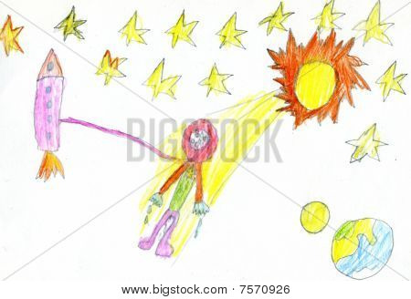 Child's Drawing Of Space.