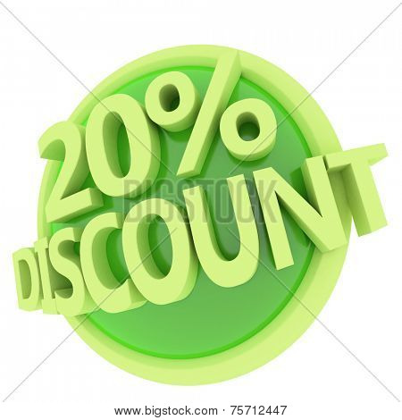 3d rendered, green 20 percent discount button