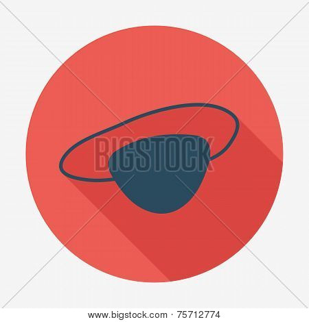 Pirate icon with long shadow, eye-patch. Flat design style modern vector illustration. Isolated on b