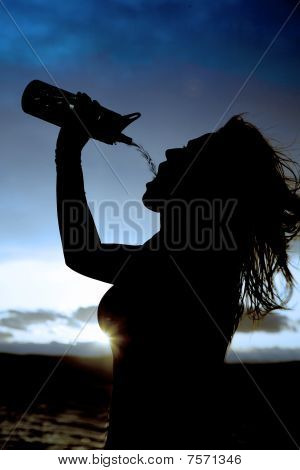 Silhouette Of A Woman And Water Bottle