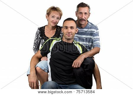 Portrait of the hugging happy family