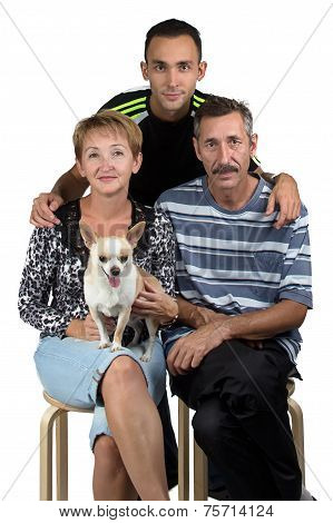 Photo of the happy family with dog
