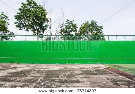 Old Green Tennis Court Surface