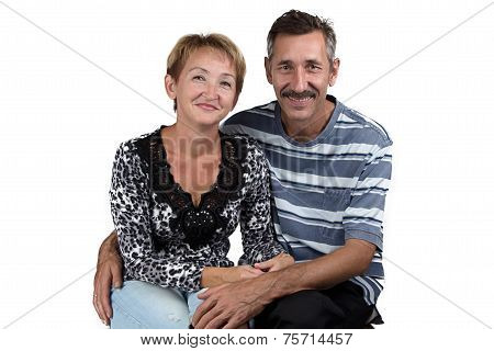 Photo of the hugging old man and woman