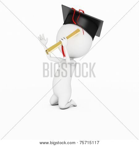 3d rendered illustration of a little white guy - just graduated