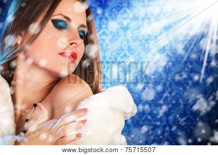 Beauty Glamour Fashion Woman Portrait Vintage Background Girl Wearing Expensive Fur Professional Hai