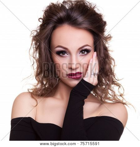 Sensual Woman Biting Her Lips Isolated On White Background