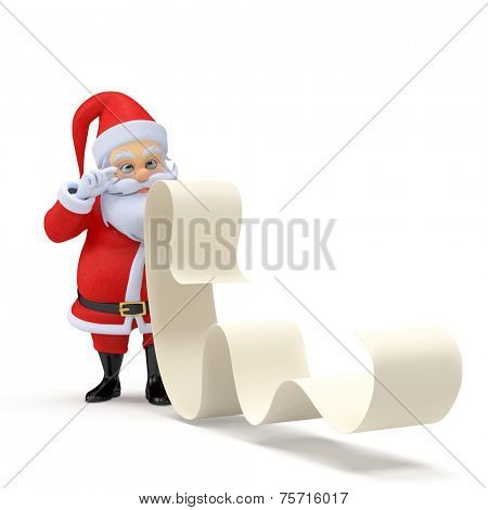 3d rendered illustration of a little santa with a long wishlist