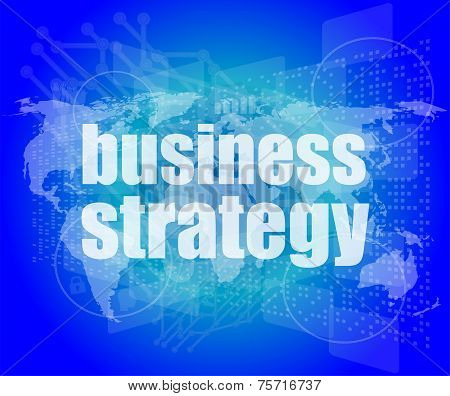 Business Strategy Word On Digital Screen, Mission Control Interface Hi Technology