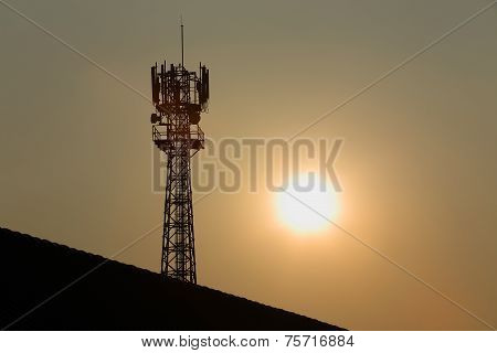 Antenna Of Radio Communication And Satellite Tower Silhouette Silhouette With Sunset Background