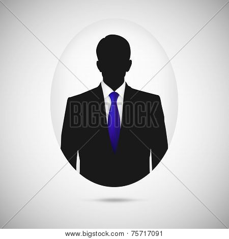 Male person silhouette. Profile picture whith blue tie.