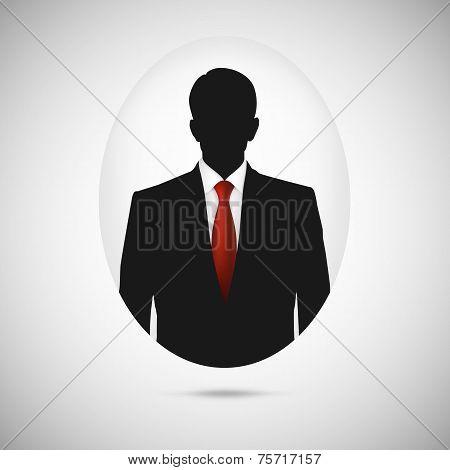 Male person silhouette. Profile picture whith red tie.