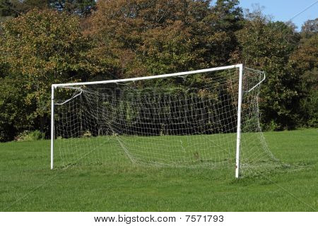 Park Soccer Football Pitch Goal Posts And Net.